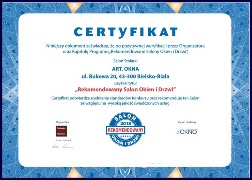 Certyfikat Rekomendowany Salon Okien i Drzwi