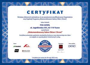 Certyfikat Rekoemndowany Salon Okien i Dzrwi Adwil z Tczewa