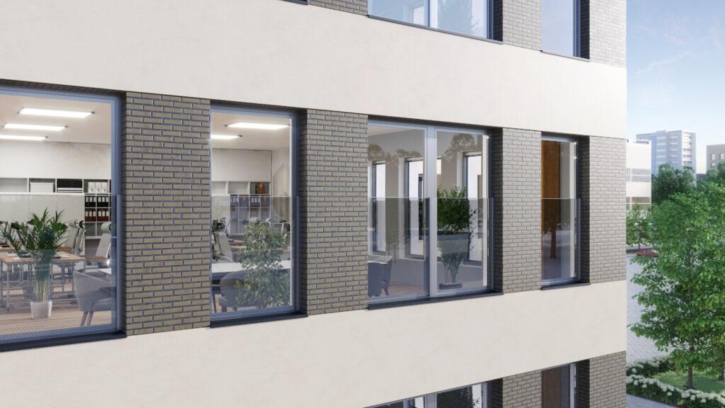 Okna z balustrada szklaną