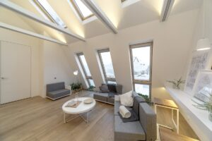 Strefa relaksu doświetlona oknami dachowymi Fako