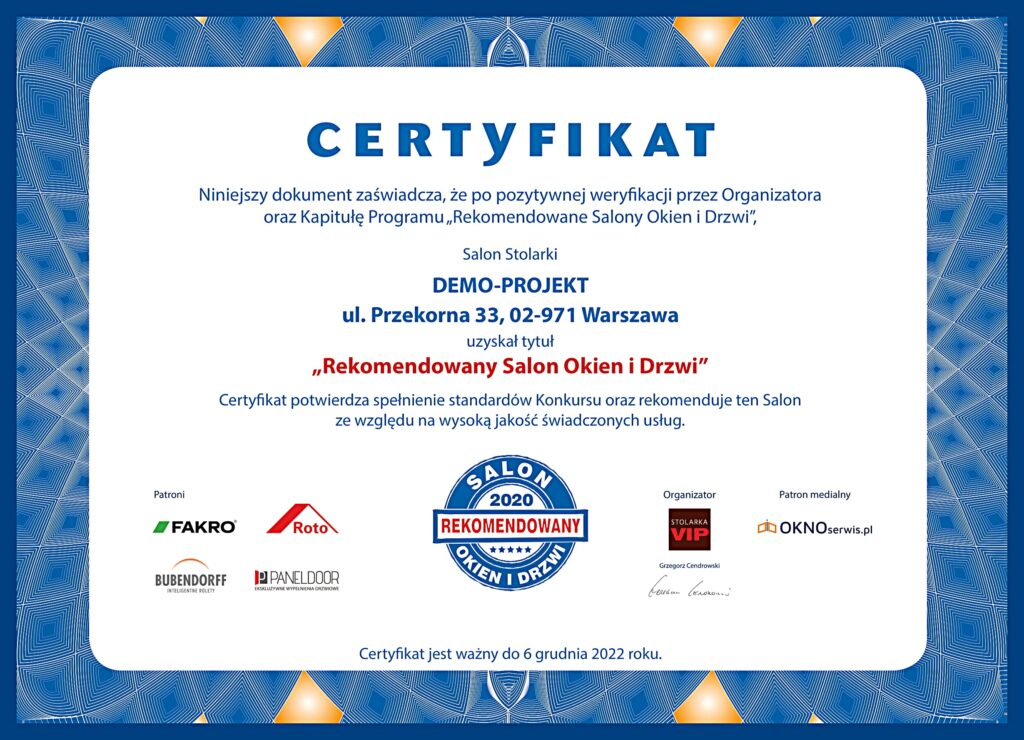 Certyfikaty RSOiD Demo-Projekt